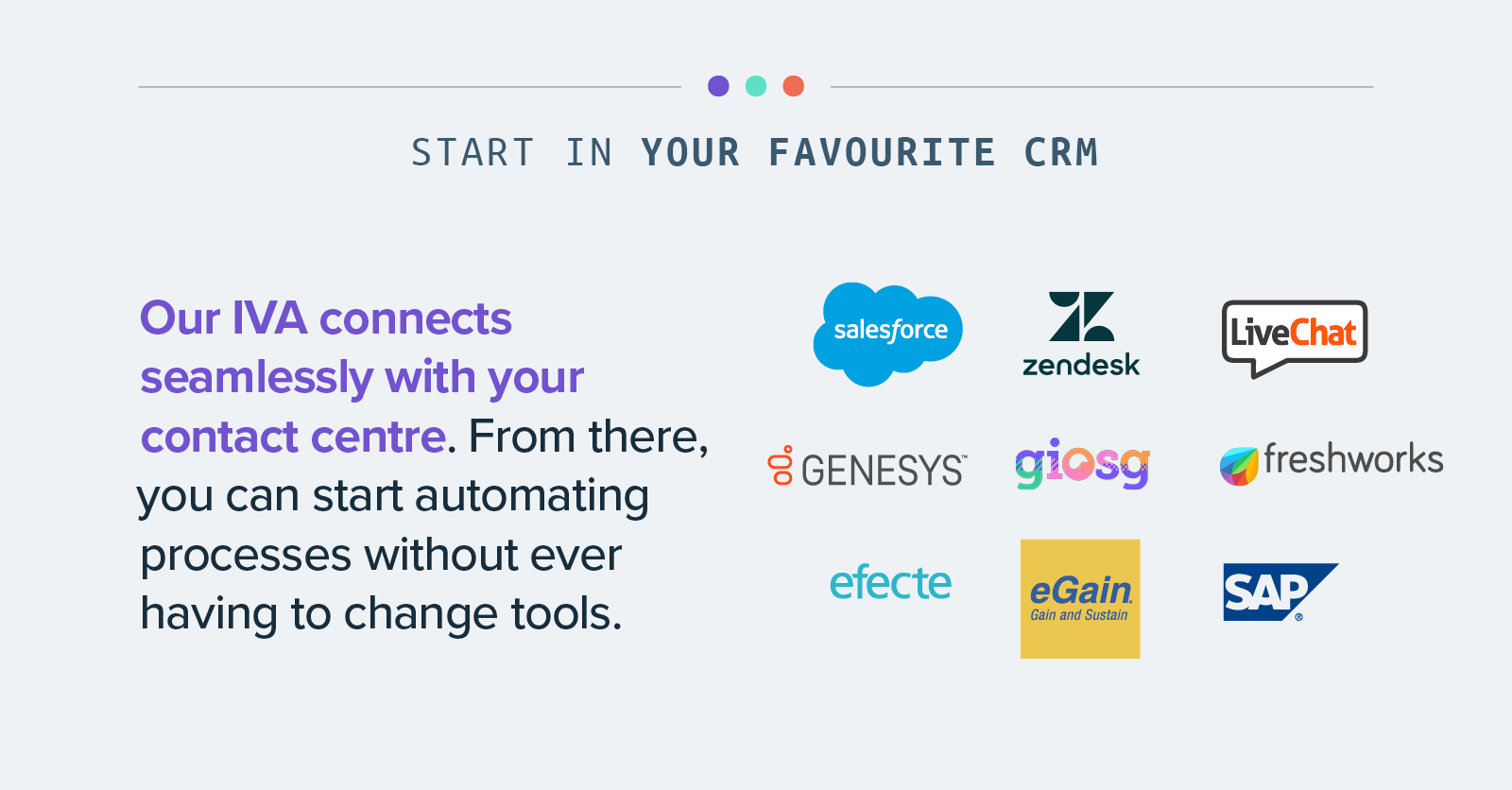 Start in your favourite CRM - Our IVA connects seamlessly with your contact centre. From there, you can start automating processes without ever having to change tools.