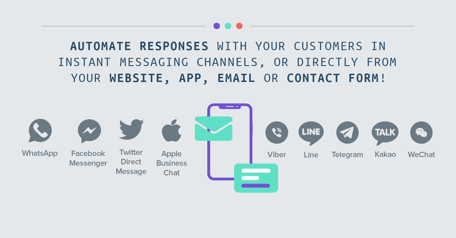 Automate responses with your customers in Instant Messaging channels (including WhatsApp, Facebook Messenger, Twitter Direct Message, Apple Business Chat, Viber, Line, Telegram, Kakao and WeChat), or directly from your website, app, email or contact form!